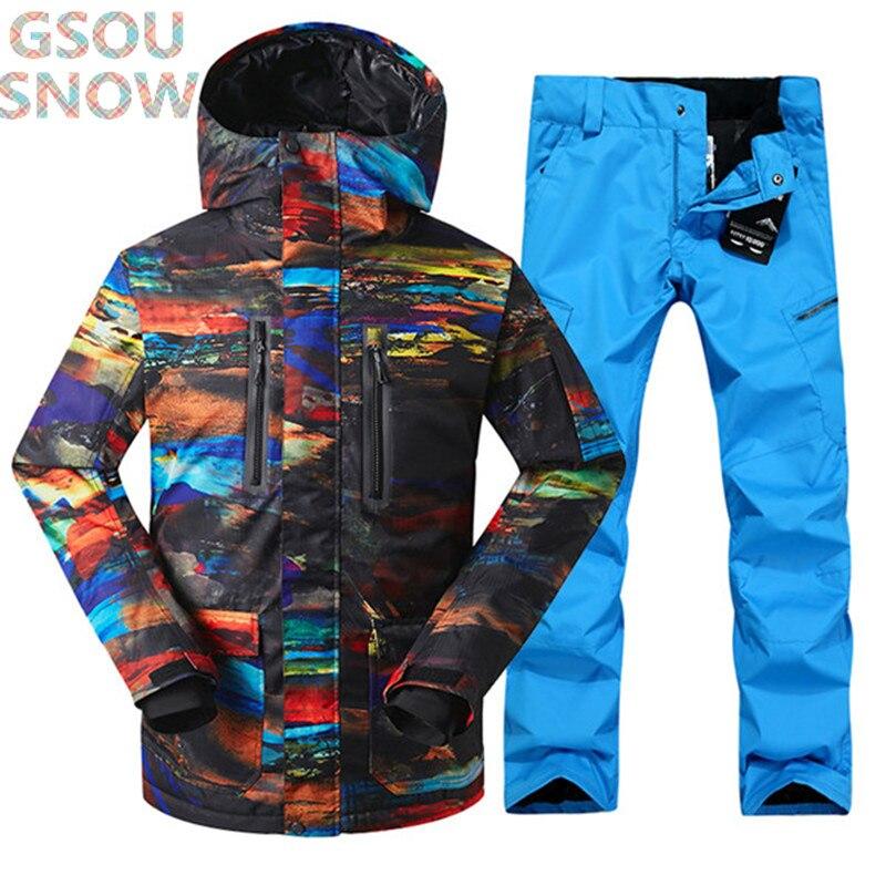 Gsou neige hiver impression Pour hommes combinaison de ski super chaud vêtements de Sport de Ski snowboard veste + Pantalon costume coupe-vent Waterproof10K
