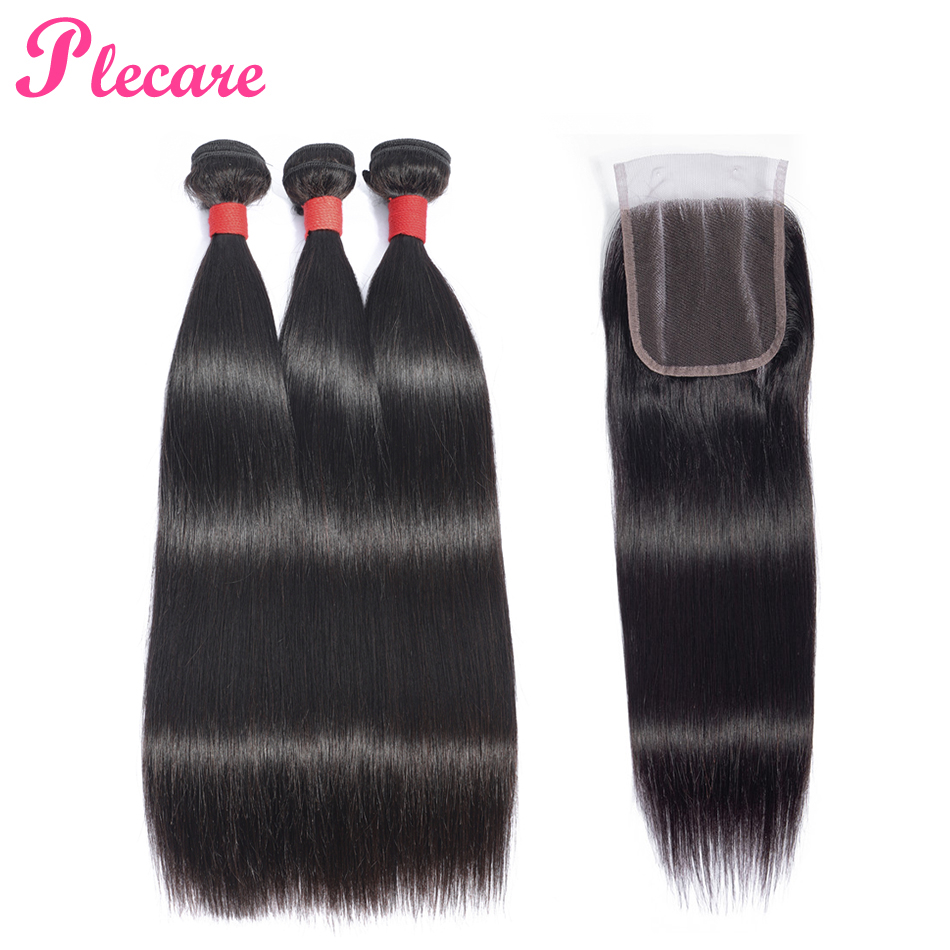 Plecare 100 Human Hair Weave Bundles With Closure Straight Malaysian Hair 3 Bundles With Closure Natural