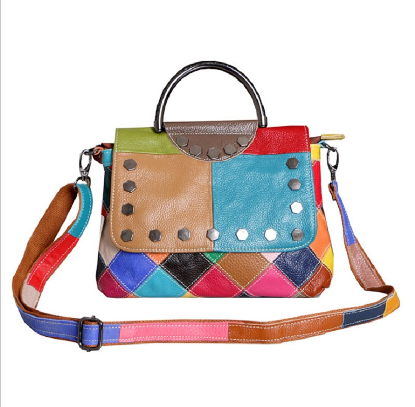 Women Handbag Designer 2019 Casual Totes Bags Cow Leather Plaid Panelled Bag Rivet Small Bag Women Shoulder Messenger Bags