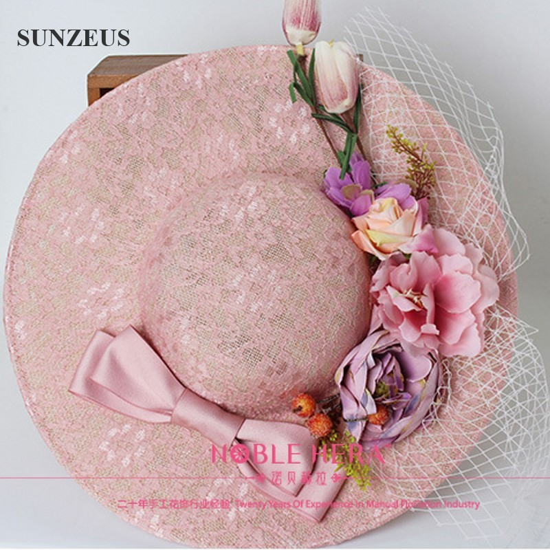 Vintage Pink Lace Wedding Hats Girl With Big Bow Hats And Headbands Flowers Nupcial Sombreros Evening Party Hats for Women SQ034