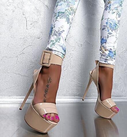 Hot Selling Beige Color Ankle Buckle 16cm Platform Women Sandals Cut-out Thin Heel Formal Party Dress shoes woman Size 34-42 цена 2017
