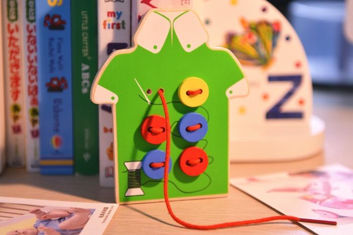 2 रंग बच्चों को करघा बुनाई कपड़ा / बच्चे बाल सीम बटन खेल लकड़ी के खिलौने / बालवाड़ी स्कूल DIY हस्तनिर्मित खिलौने