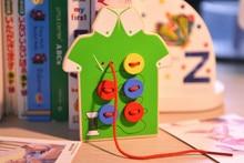 2 colors Children weaving loom knit cloth Kids Child Seam button game wooden toys Kindergarten school