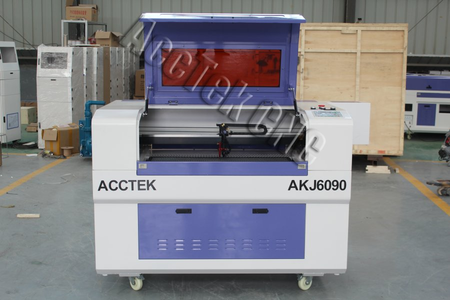 Cnc Laser Engraving And Cutting Machine AKJ6090  Water Cooling 90w  Laser Tube For Leather Wod Nonmetal