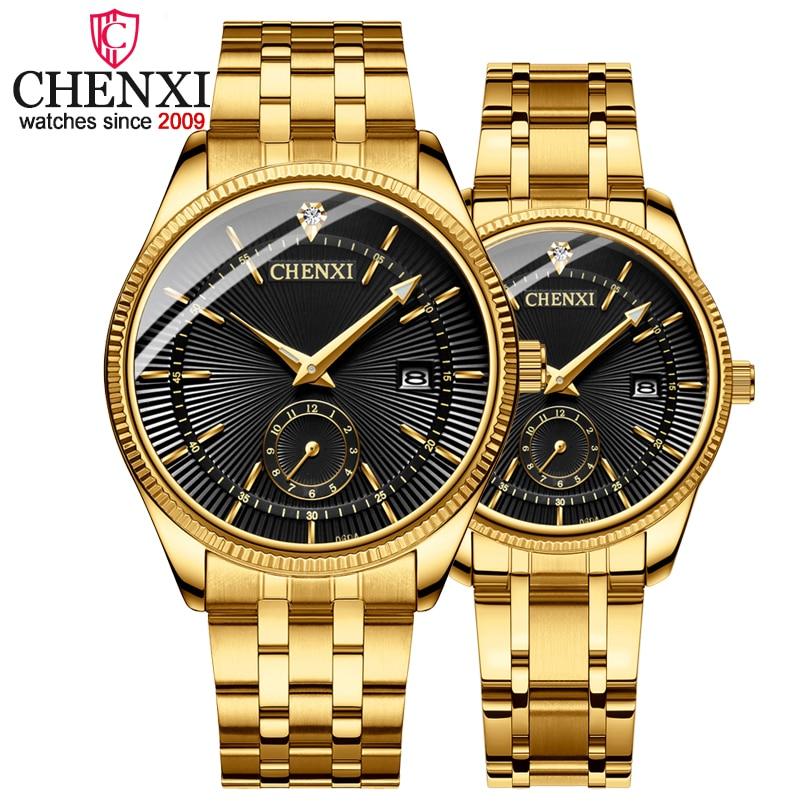 CHENXI caliente moda creativa relojes mujeres hombres reloj de cuarzo de oro amantes de pulsera reloj de lujo relojes de marca relojes hombre