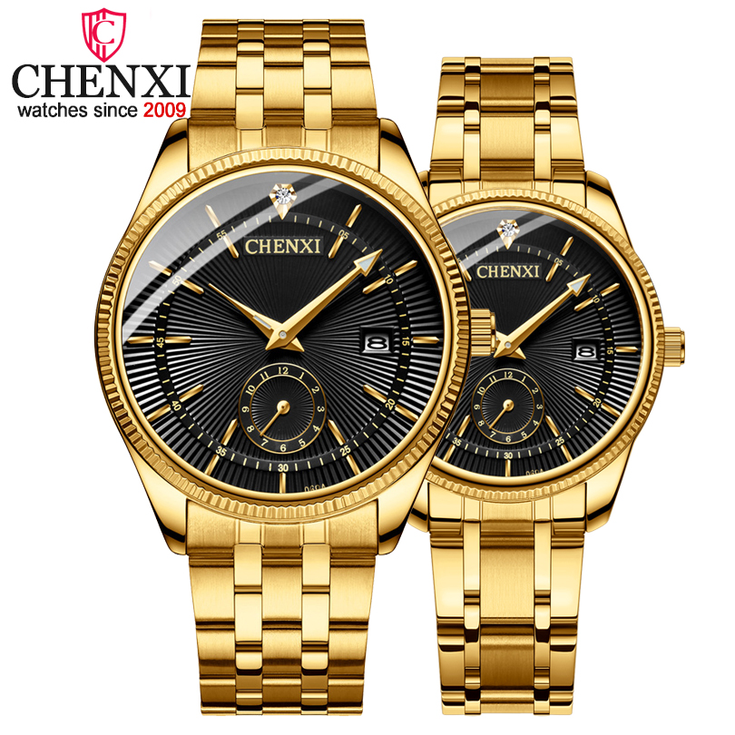 CHENXI Hot Fashion Creative Watches Women Men Quartz Watch Golden lovers' Wristwatches Luxury Clock Brand Watches relojes hombre halei lovers watches crystal inlaid full steel quartz watch women men simple casual wristwatches silver clock calendar relojes