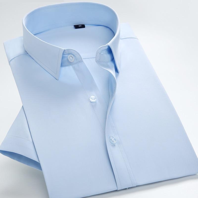 Men's Summer Short Sleeve Solid Basic Dress Shirts Regular Fit Comfortable Soft Twill Work Office Formal Business Tops Shirt