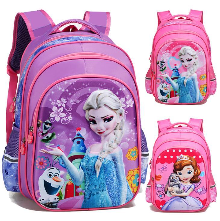New Cartoon Girl Schoolbag Baby Sofia&Elsa Princess Children Primary Student School Bag Bagpack Kindergarten Kids Backpacks