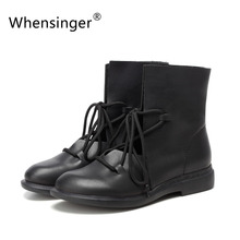 Whensinger - 2017 Women Shoes Spring Female Patent Leather Fashion Boots Solid Lace-Up Handmade Vintage Elegant 7889