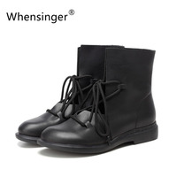 New Real Cowhide Leather Women Boots Retro Art Mori Girl Leather Boots Women Short Ankle Boots