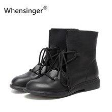 Whensinger 2016 Femmes Chaussures Printemps Femelle En Cuir Verni Bottes De Mode Solide Dentelle-Up Main Vintage Élégant 7889