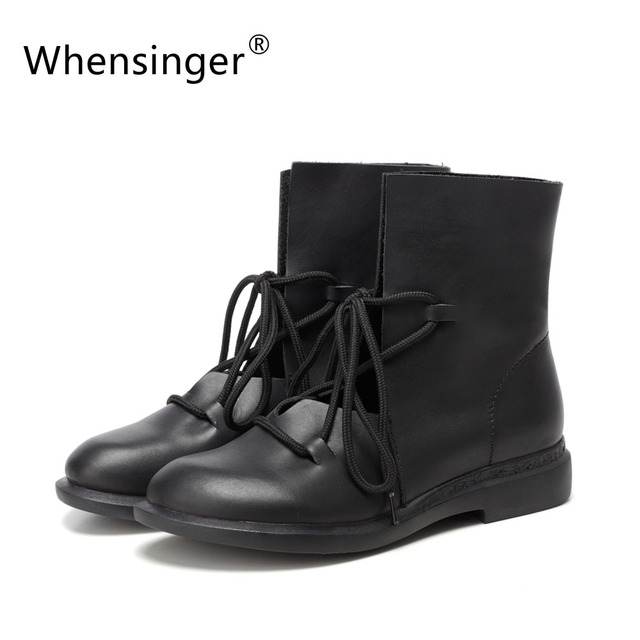 Whensinger - 2017 Women Shoes Female Patent Leather Fashion Boots Solid Lace-Up Handmade Vintage Elegant 7889