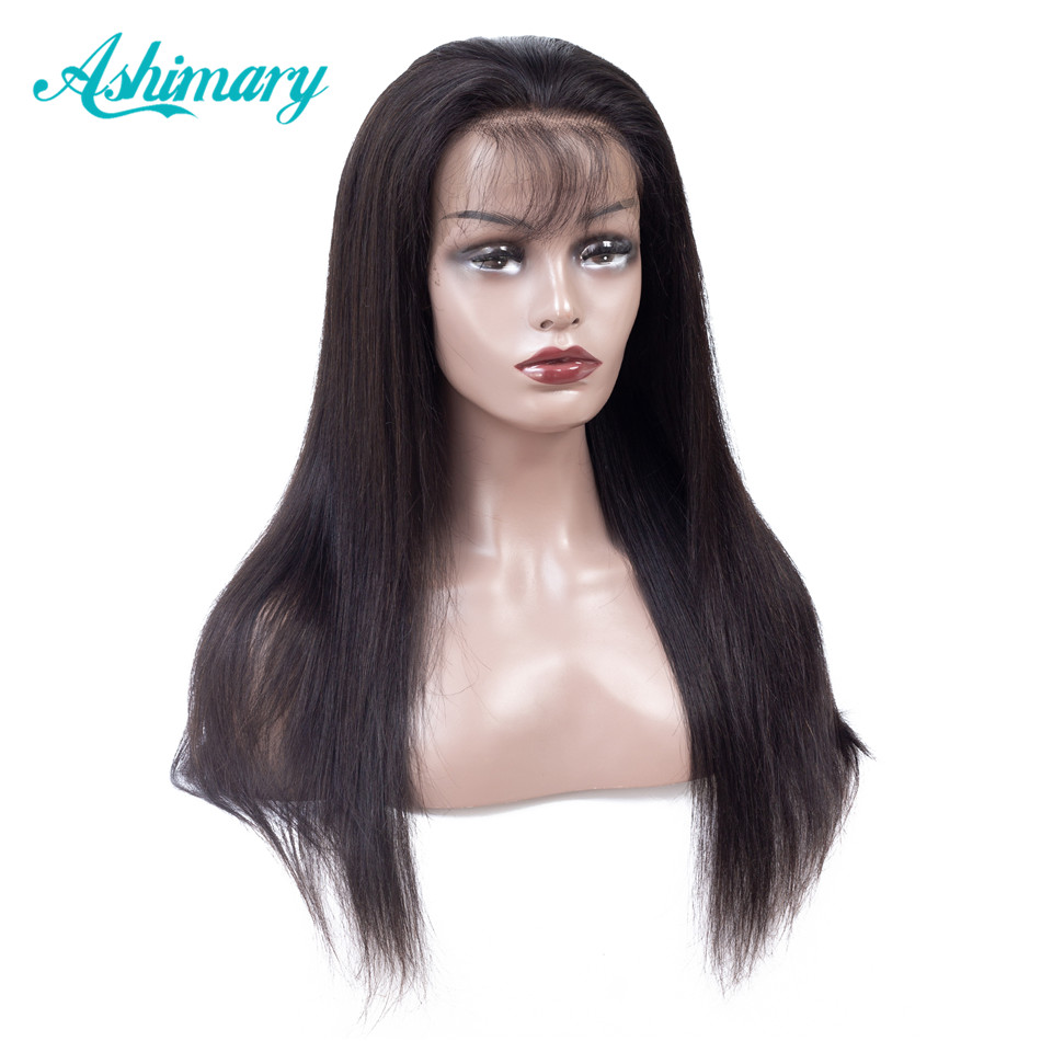 Ashimary Wigs Human-Hair-Wigs Remy-Lace Lace-Front Pre-Plucked Straight Baby Brazilian