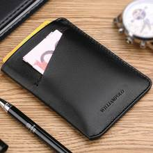 WilliamPOLO New Mini Wallet Short Ultrathin Slim Credit Card Holder Genuine Leather Organizer Multi Card Case Purse Black Brown(China)