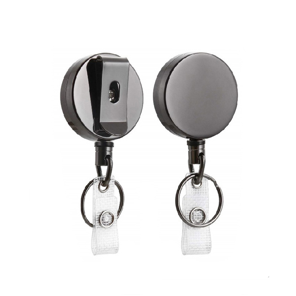 2PCS Badge Holder Reel Key Ring Retractable Pull Key Chains Belt Recoil Clip ID Name Card Metal Heavy Duty Office Lanyard