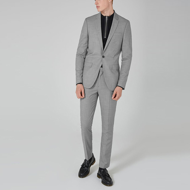 Top Design Grey Smart Casual Business Suit Groom Tuxedos Wedding
