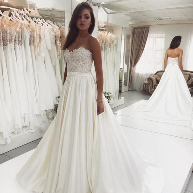 01022d7bd8d6 Vestido De Noiva Elegant Sweetheart Backless Lace Top Wedding Dress Satin Ivory  Wedding Gowns Bride Dress 2019