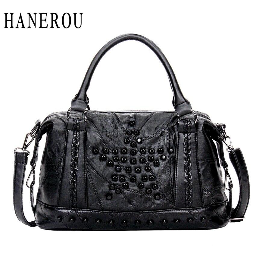 ФОТО New Rivet Luxury Handbags Women Bags Designer Big Capacity Women Crossbody Bag Famous Brand Messenger Bag PU Leather Sac A Main