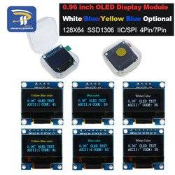 4pin 7pin branco e azul cor 0.96 polegada 128x64 amarelo azul oled módulo de exibição para arduino 0.96 iic i2c spi comunicar