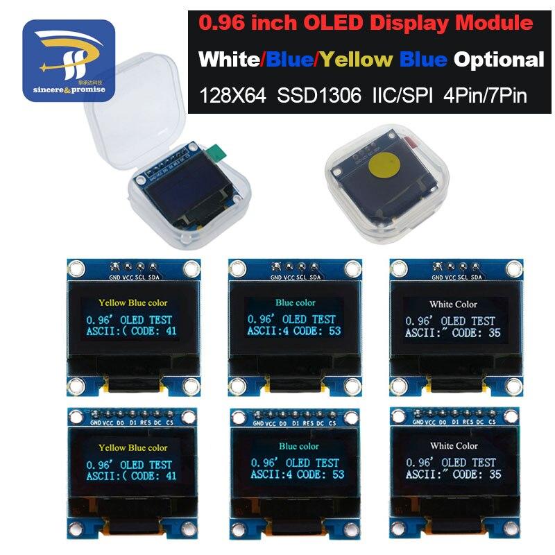"""4pin 7pin branco e azul cor 0.96 polegada 128x64 amarelo azul oled módulo de exibição para arduino 0.96 """"iic i2c spi comunicar"""