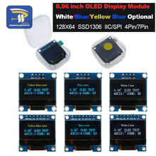 "4pin 7pin White and Blue color 0.96 inch 128X64 Yellow Blue OLED Display Module For Arduino 0.96"" IIC I2C SPI Communicate(China)"