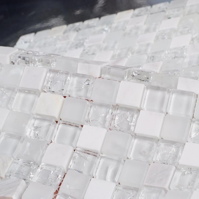 €217.83 |Pierre blanche mixte glace craquelé clair verre mosaïque salle de  bain mosaïque carreaux kithcen dosseret blanc mélangé clair verre pierre ...