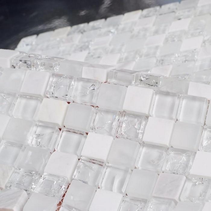 white stone mixed ice crackle clear glass mosaic bathroom mosaic tiles  kithcen backsplash white mixed clear
