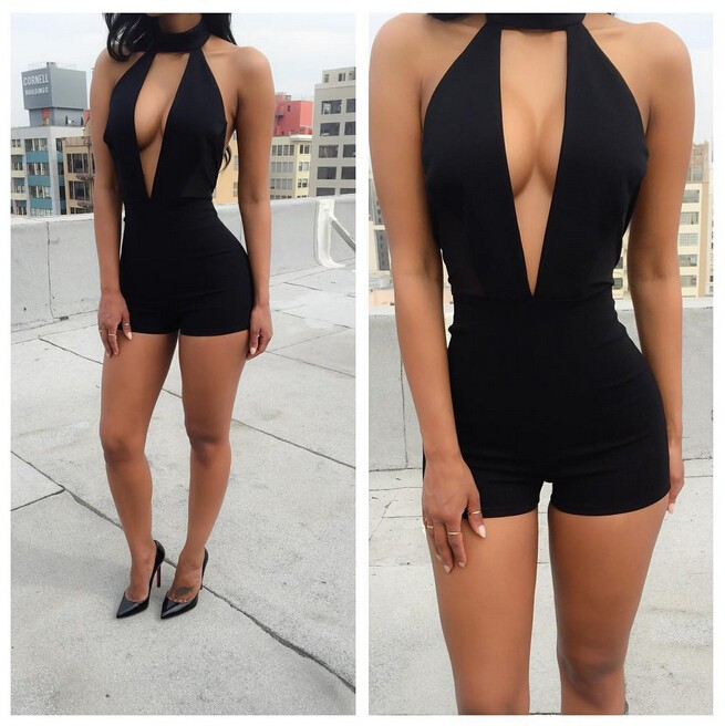 2018 New Summer Playsuit Rompers Womens Overalls Sexy v neck Summer Casual Black Sleeveless Halter Keyhole Backless Jumpsuit ...