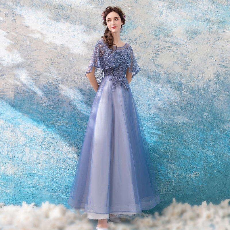 2019 New Young Mom Purple High Waist Round Neck Petal Sleeves Lace Tulle Elegant Banquet Dress2019 New Young Mom Purple High Waist Round Neck Petal Sleeves Lace Tulle Elegant Banquet Dress