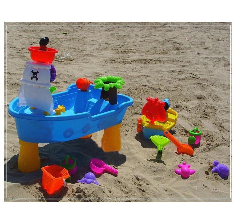 القراصنة السفينة الاطفال في الهواء الطلق اللعب الرمال والماء الجدول مع الرمال قوالب مجموعة ألعاب الشاطئ للأطفال-في ألعاب الشاطئ / الرمل من الألعاب والهوايات على  مجموعة 2