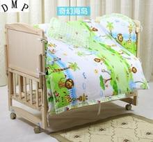 Promotion! 7pcs Cute Animals Baby Crib Set New Arrival Bedding Sets Cotton (4bumper+duvet+matress+pillow)