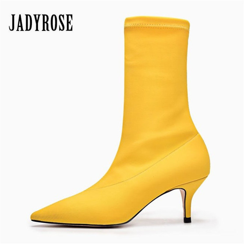 Jady Rose Yellow Women Sock Boots Stretch Fabric Pointed Toe High Heels Slip On Ankle Boots Women Pumps Stiletto Botas Mujer jady rose fashion stretch fabric ankle boots for women chunky high heel sock boot elastic pointed toe female back zip high boots