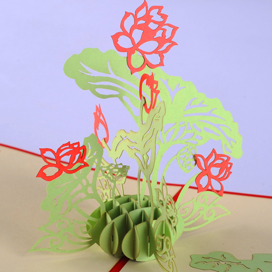 Lotus flower pop up card /3D  kirigami card/ handmade gift  Free shipping Customized card music card spiral pop up musical notes 3d card music instruments pop up card bday pop up card