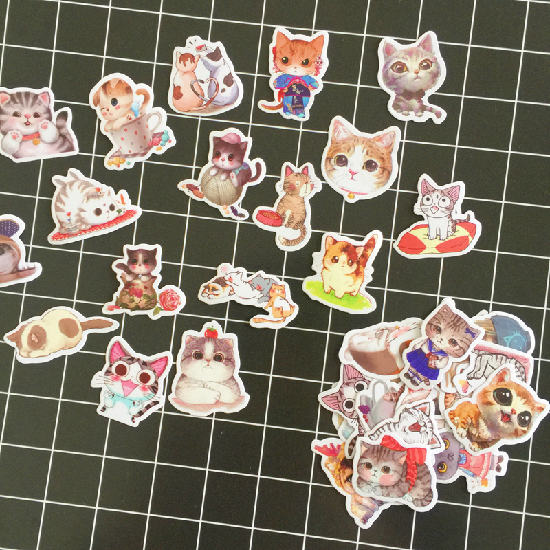 35 Pcs /Bag Adorable Cat Kitten Decorative Stickers Computer Notebook Decoration