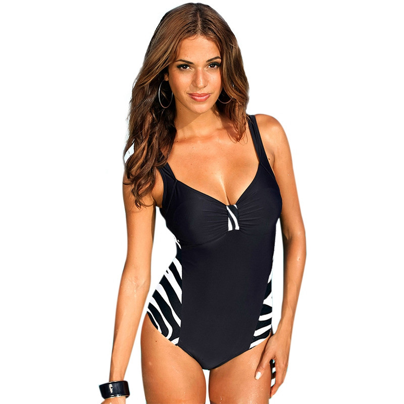 Plus Size Swimwear Female One Piece Swimsuit Women Vintage Bathing Suit 2017 One-Piece Suit Retro Large Size Swimsuits 5XL plus size scalloped backless one piece swimsuit