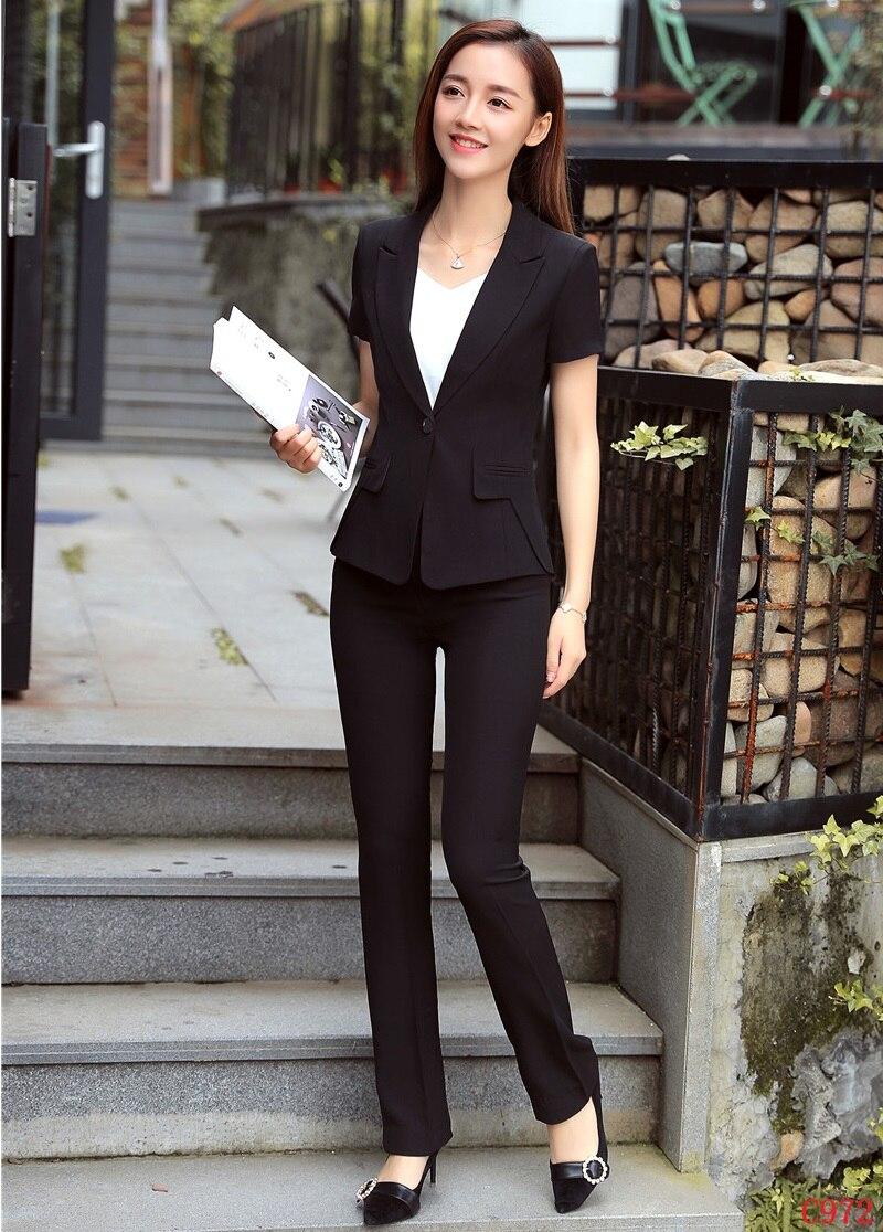 Wear Dames Uniforme Conception Pour Ensemble Été Work Ol Veste Style Bureau Blazer Femmes Formelles Pantalons Et Costumes Pwwqd6O