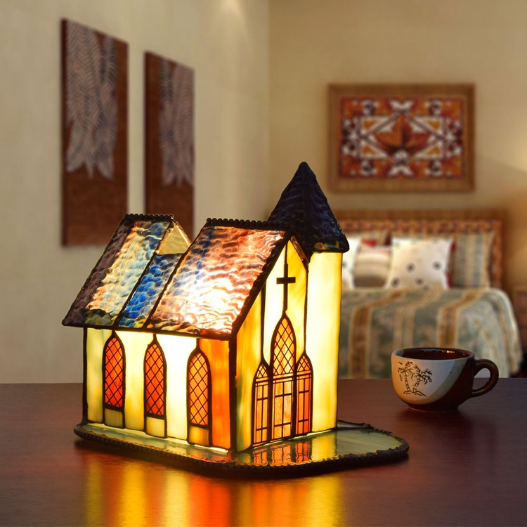 Tiffany European Church House Living Room Bedside Table Lamp Quality Stained Glass Lightings For Office Bar LED Table Lamps Free church stained squares