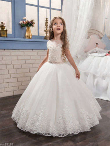 New Lace Flower Girl Dresses First Communion Dress for Little Girls Pageant Gown Children Clothing sweet little girls white first communion dress lace sash crew neck ankle length flower girl dress pageant gown custom