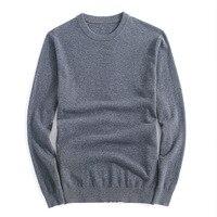 Brand Winter Mens Wool Sweater Fashion Round Collar 100% Merino Wool Casual Pullovers Men Slim Fat Thin Sweater M 3XL AF8621
