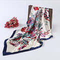 2016 New Style Female Satin Big Square Silk Scarf Printed,Hot Sale Women flower scarves Europe Style Design