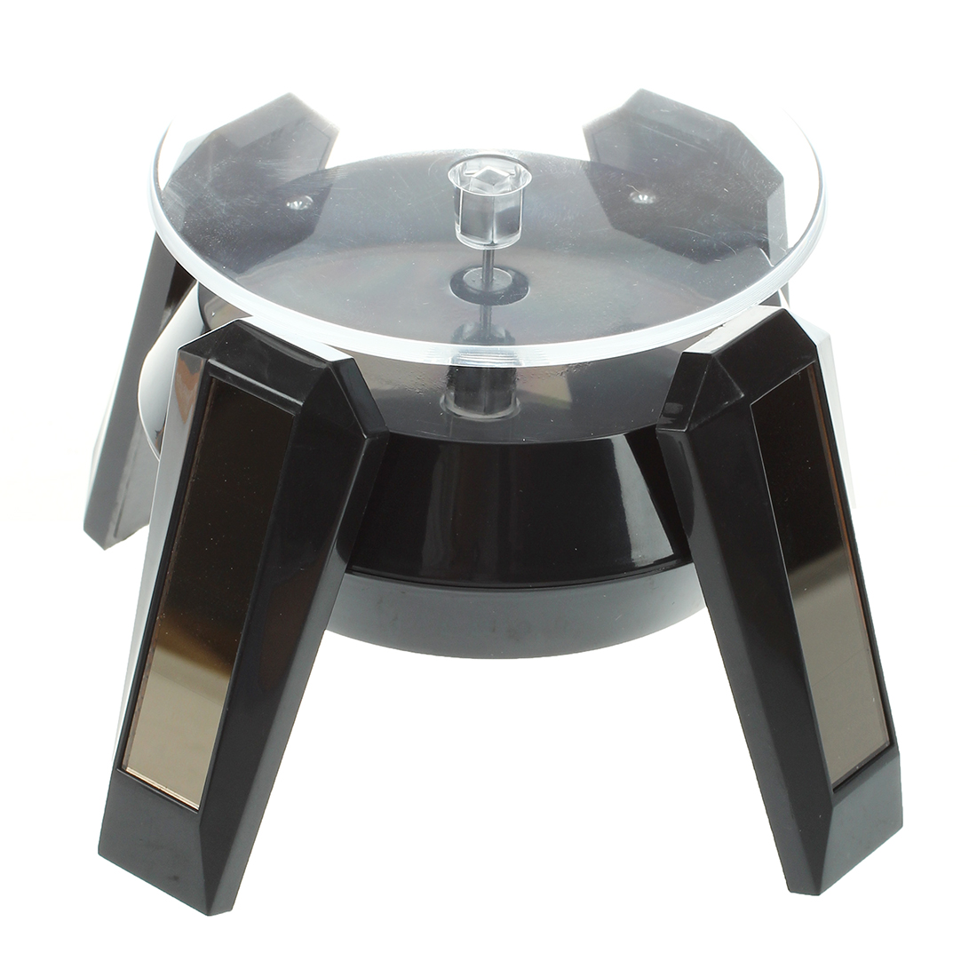 Black Solar Powered Jewelry Phone Watch 360 angle Rotating Display Stand Turn Table with LED Light