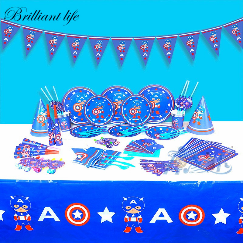 129pcs Captain America Theme Baby Shower Paper Cup Plate Blowout Cap Event Party Boy Birthday Party Gift Bag Tablecloth Supply