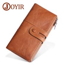 JOYIR Hot Sale Wallet Genuine Leather Men Rfid Wallets Male Card Holder Zipper Long Clutch Coin Purse New Design Unisex Wallet