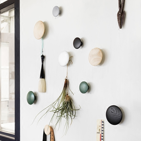 Wall Mushroom Robe Hooks Home Decor Knobs Wall Hanger With Nail Natural Oak Wood Button Handrail Wall Storage Shelf Rack