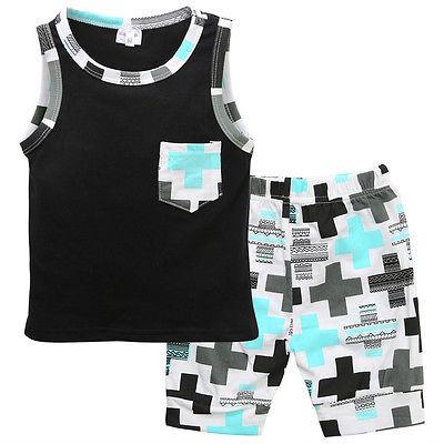 Комплект одежды для новорожденного мальчика из 2 предметов футболка рубашка без рукавов + брюки в крестик комплект одежды