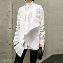 LANMREM White Blouses Irregular-Shirt Pleated-Decorative Women Clothing Design Fashion