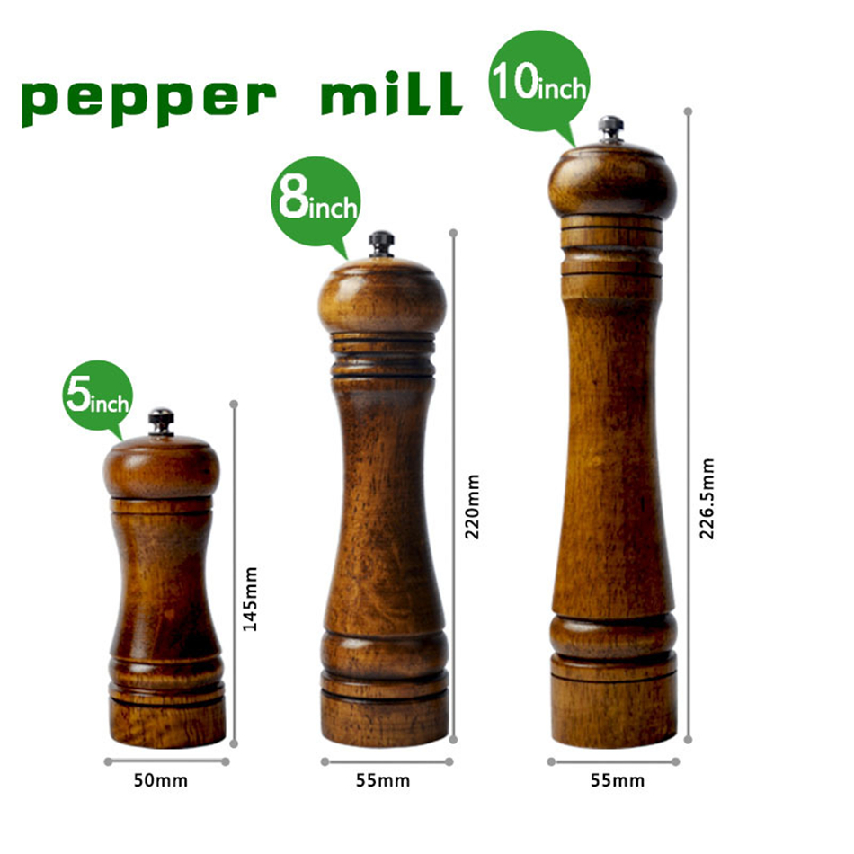 5,8,10 դյույմ ձեռքով փայտե Cruet Pepper Mill Condiment Kitchen Oak Grinder Pepper Grinder Spice milling Machine