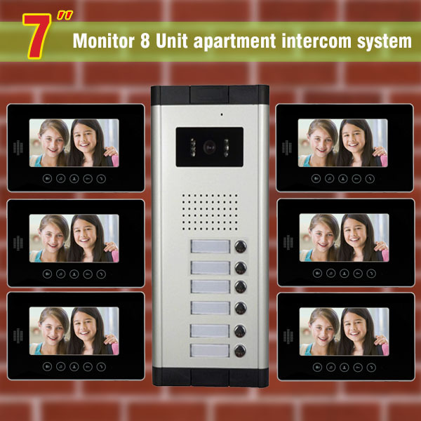 6 Units Apartment Intercom System 7 Inch Video Door Phone Intercom System Apartment Intercom Video Door