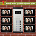 6 Units Apartment Intercom System 7 Inch Video Door Phone Intercom System Apartment Intercom Video Door Bell DoorPhone Doorbell