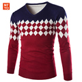 2016 New brand Sweater men pullover men sweater hombre clothing wool acrylic winter dress thick shirt v-neck striped long sleeve